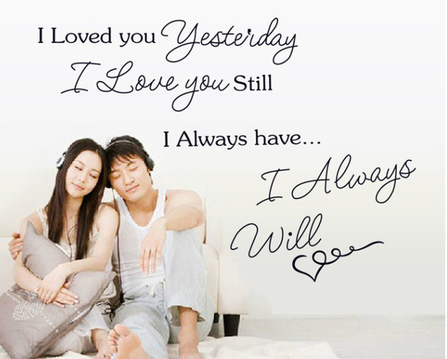 Free Shipping Romantic Love Poems I Love You Wall Stickers Quotes Sayings  Home Art Decal English