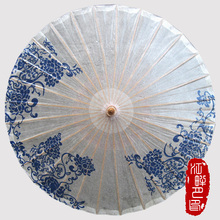 Blue and White Flower Oil Paper Umbrella Fresh Single Lady Paper Parasol Conference Meeting Hanging Umbrella Chinese Gifts