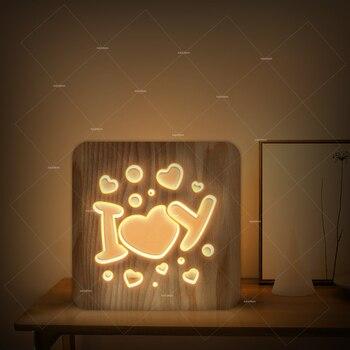 3D Деревянный ночник I love you Дизайн светодиодный теплый белый свет как подарок на день Святого Валентина или Клубное оформление комнаты