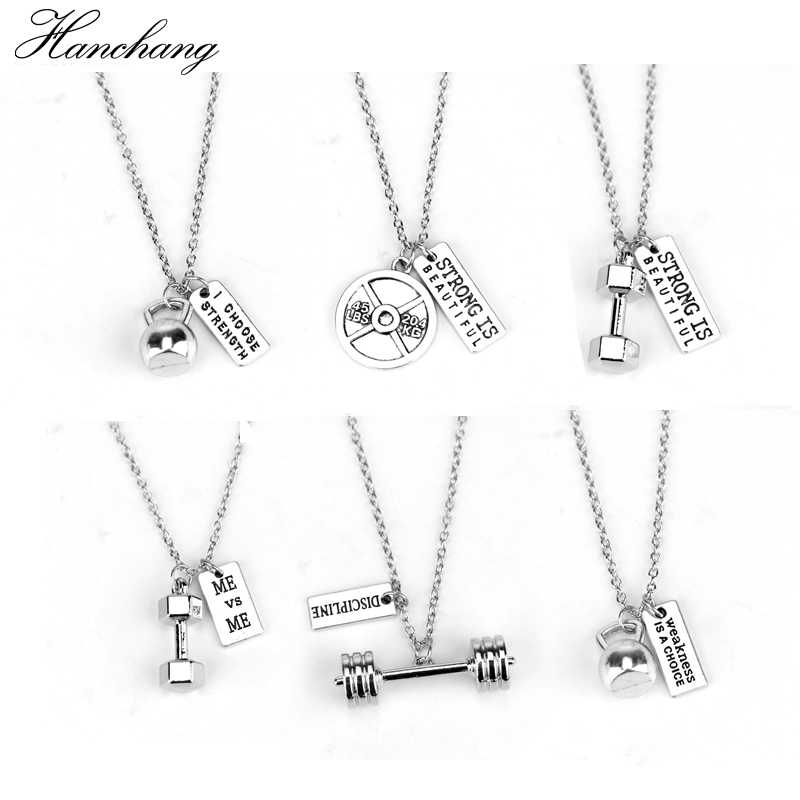 Fitness Gym dumbbell silver Pendant necklace strong is beautiful women Men necklace fashion sports Jewelry Men Sport Gift