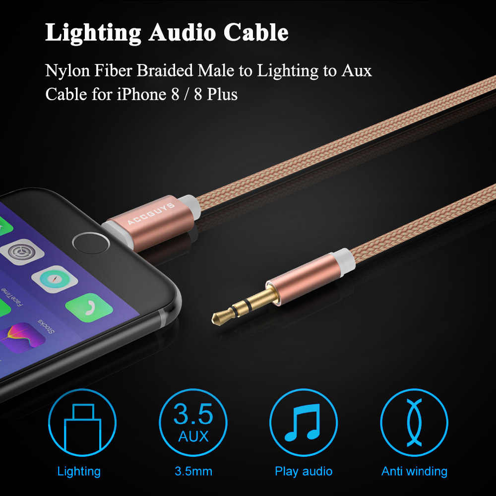 new styles ede3c a9192 ACCGUYS IOS 3.5mm jack Car AUX Audio Transfer Cable For iPhone XR/XS  Max/X/8/7/6 Plus Speaker Stereo AUX Splitter Extension Cord
