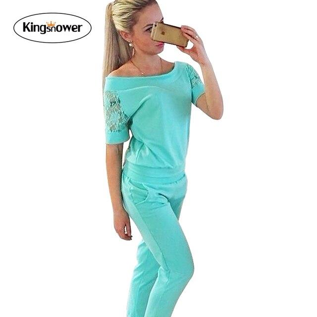 2016 Fashion Women Sportswear Lace Summer Tracksuits Short Sleeve Casual Costumes Mujer 2 Piece Set T-shirt + Pant JA4005