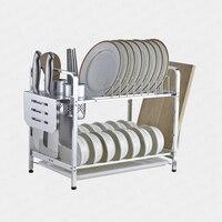 Space Aluminum Dish Rack Kitchen Double Bowl Drain Storage Supplies Multi function Escurridor De Platos De Aluminio Aluminium