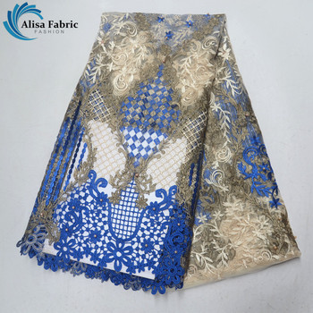 Blue Embroidered African Net Lace With Stones 5 Yards/Piece Beaded Lace French Mesh Lace Guipure Lace Fabric For Party Clothing