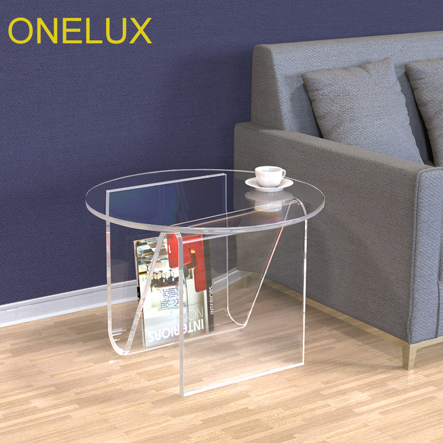 Clear Round Acrylic Coffee Tea Table, Lucite Occasional Sofa Side Magazine/Laptop Tables hollowed acrylic book magazine coffee tea table lucite plexiglass engraved side end sofa corner tables one lux
