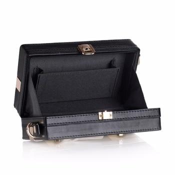 New Fashion Storage Box Trinket Cards White Black Metal Bag PU Leather Strap Carrying Travel