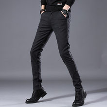 Brand New Mens Casual Pant High Stretch Elastic Fabric Skinny Slim Cutting Trouser Pocket Badge Plus Size 28-38(China)