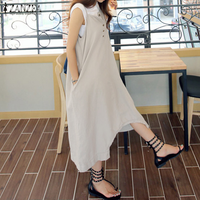 Fashion ZANZEA Women Casual Strappy Drop Crotch Jumpsuits Buttons Dungarees Bib Overalls Summer Solid Loose Rompers Plus Size