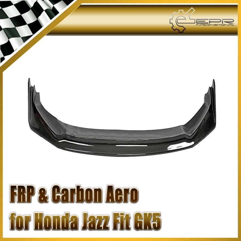 Car-styling For Honda Jazz Fit GK5 14-17 Carbon Fiber HT-Style Front Lip Fibre Bumper Accessories