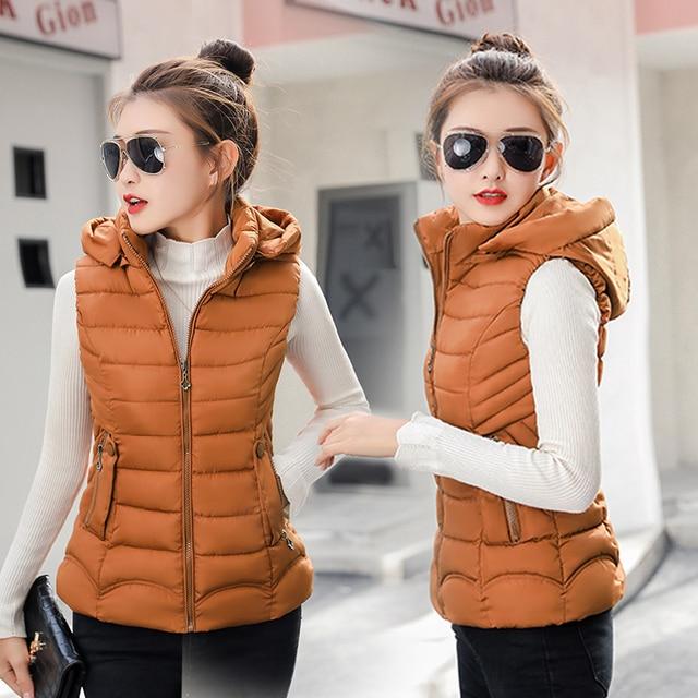 Phụ nữ mùa đông vest Casual rắn slim không tay trùm đầu parkas áo hai túi Mùa Thu áo ghi lê bông độn vest nữ M-3XL
