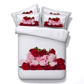 Розовый, красный, розовый комплект постельного белья, 3d цветочный принт, пододеяльник, простыня, покрывало, Твин, полный, королева, король, ка...