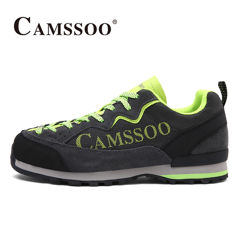 цены  2017 Camssoo Mens Hiking Shoes For Outdoor Light Weight Walking Shoes Breathable Climbing Camping Sport Shoes Free Shipping 3093