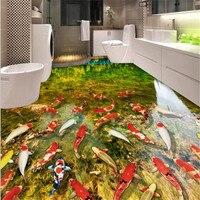 Beibehang 3D pintura piso engrossado desgaste não-deslizamento à prova d' água papel de parede auto-adesivo PVC papel de Parede Murais de pintura cor