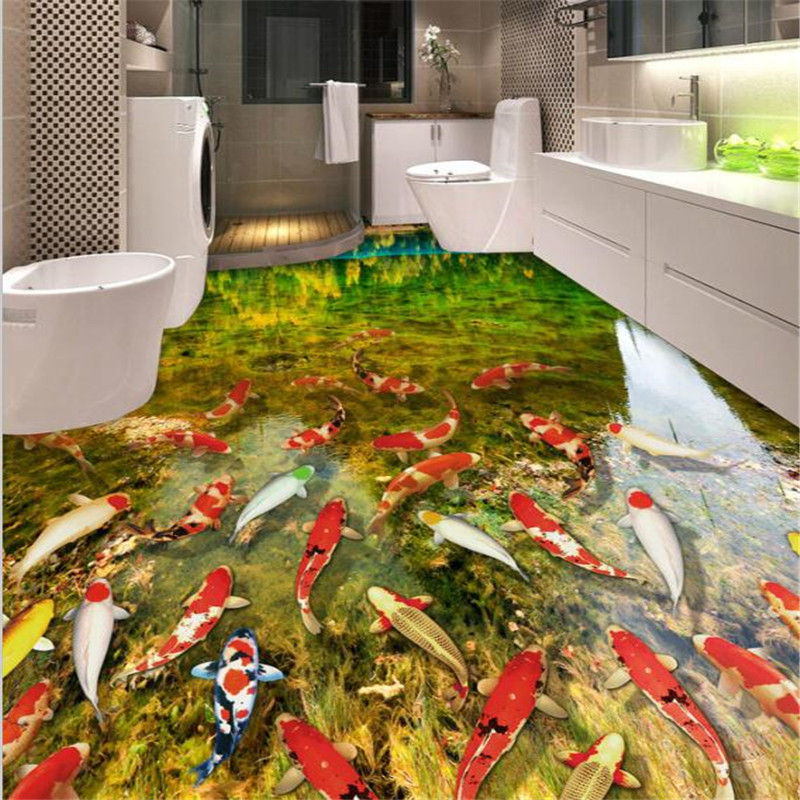 цена на beibehang 3D floor painting wallpaper wear non-slip waterproof thickened self-adhesive PVC Wall paper Murals painting color