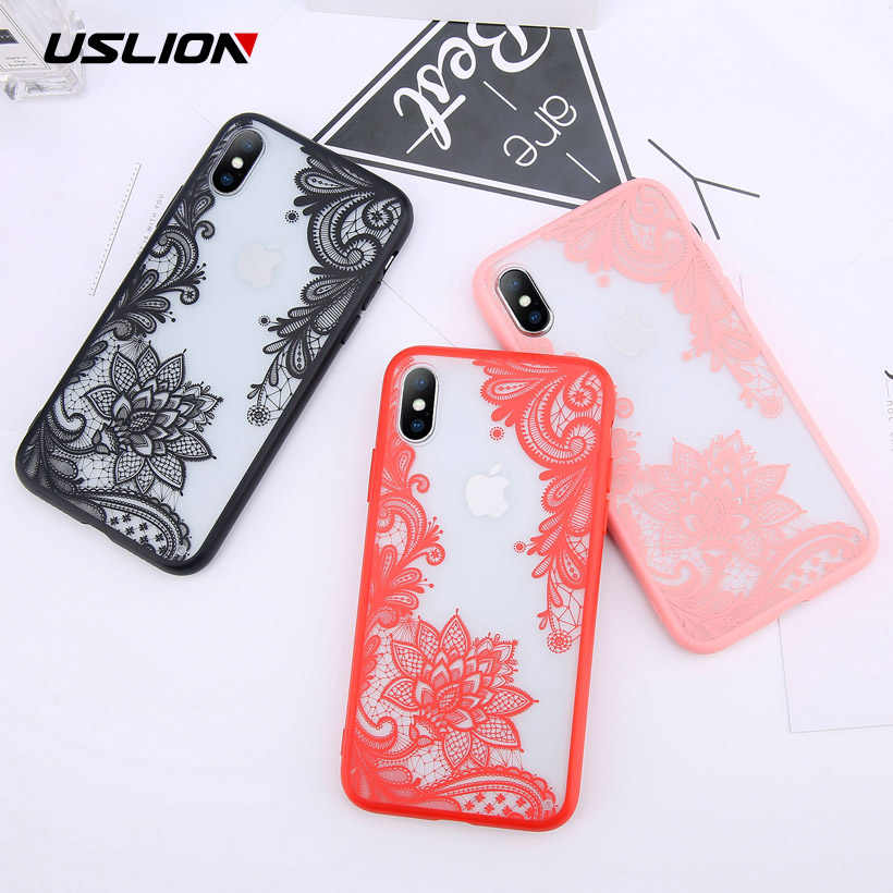 USLION Sexy Floral Da Tampa Do Caso Para o iphone X XS XR Xs Max Caso de Telefone TPU e PC Limpar Flor Do Laço para o iphone 6 6 s 7 8 Plus