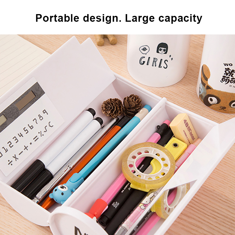 Pencil Case Stationery Box Pen Holder High Tech Multifunction Japanese School Pencil Bag With Calculator Mirror Large Capacity