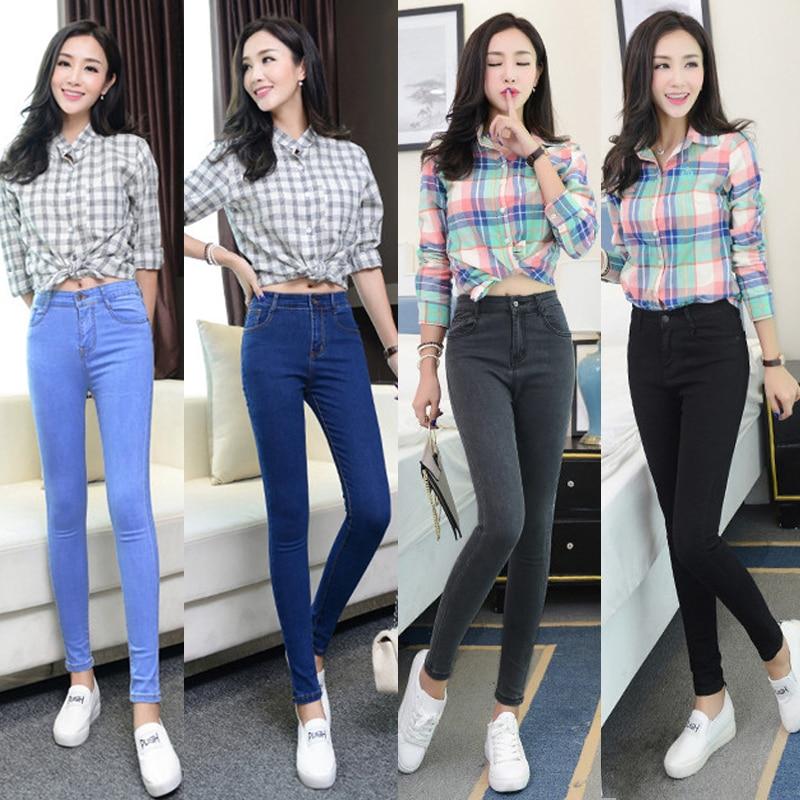 Women   jeans   Plus Size High Waist Stretch Washed Skinny   Jeans   Woman Denim Pants 2019 Pencil Light Blue Gray Black dropshipping