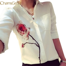 Chamsgend Newly Design Women s White Full Sleeve Rose Flower Printed Blouse Turn Down Collar Chiffon