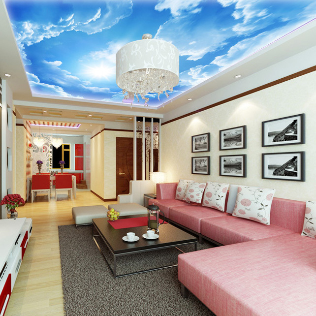 3d large hotel lobby ceiling mural wallpaper bedroom for Ceiling mural in smokers lounge