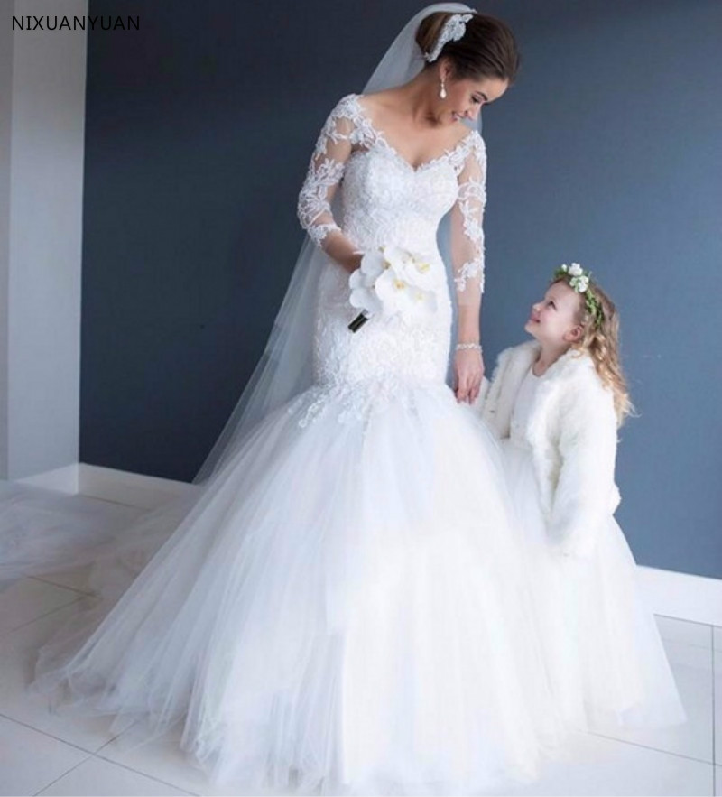 Robe De Mariee Sexy V-Neck Mermaid Long Sleeves Wedding Dress 2020 Lace Appliques Buttons Back Bridal Gowns Custom Made