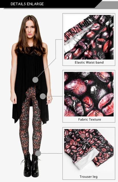 Funny Coffee Leggings Digital 3D Seam Print Polyester Women Leggings For Fashion Dress