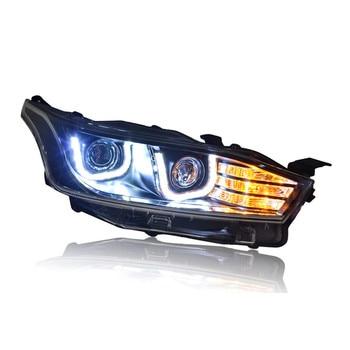 Ownsun LED Double-U Sharp Eagle Eye DRLs Bar HID Bi-Xenon Projector Len Replacement Headlight For Toyota Yaris L 2014-2015