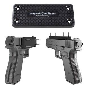 Image 1 - 1X pistolet karabin polowanie ukryty magnetyczny uchwyt pistoletu kabura pistolet magnes do samochodu pod stołem nocna rama nośna 17 KG