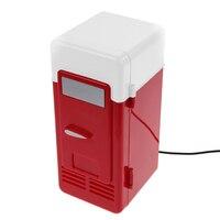 Desktop Mini Fridge USB Gadget Beverage Cans Cooler Warmer Refrigerator With Internal LED Light Car Use