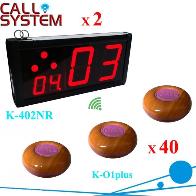 Горячие продажи 100% водонепроницаемый кнопки 40 шт. с 2 стены отображает Кофе Клиента вызов bell system 433.92 мГц