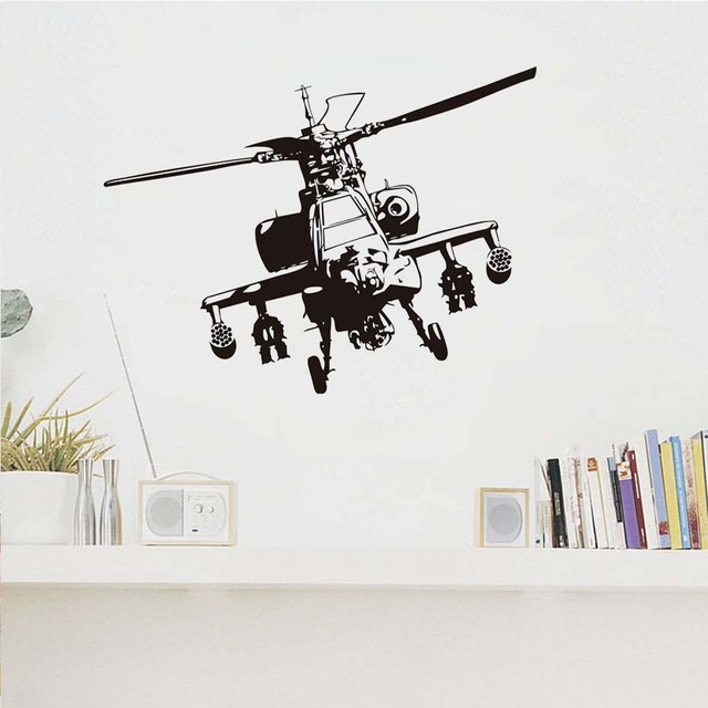 Military Helicopter Vinyl Wall Stickers For Kids Rooms Airplane