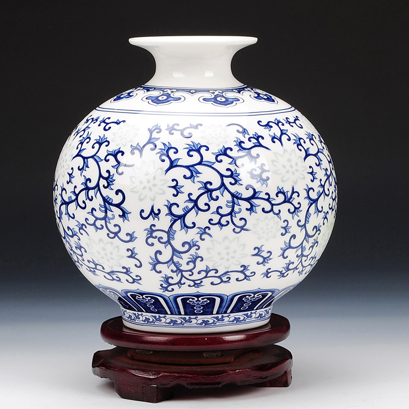 Jingdezhen Rice Pattern Porcelain Pomegranate Vase Antique Blue And