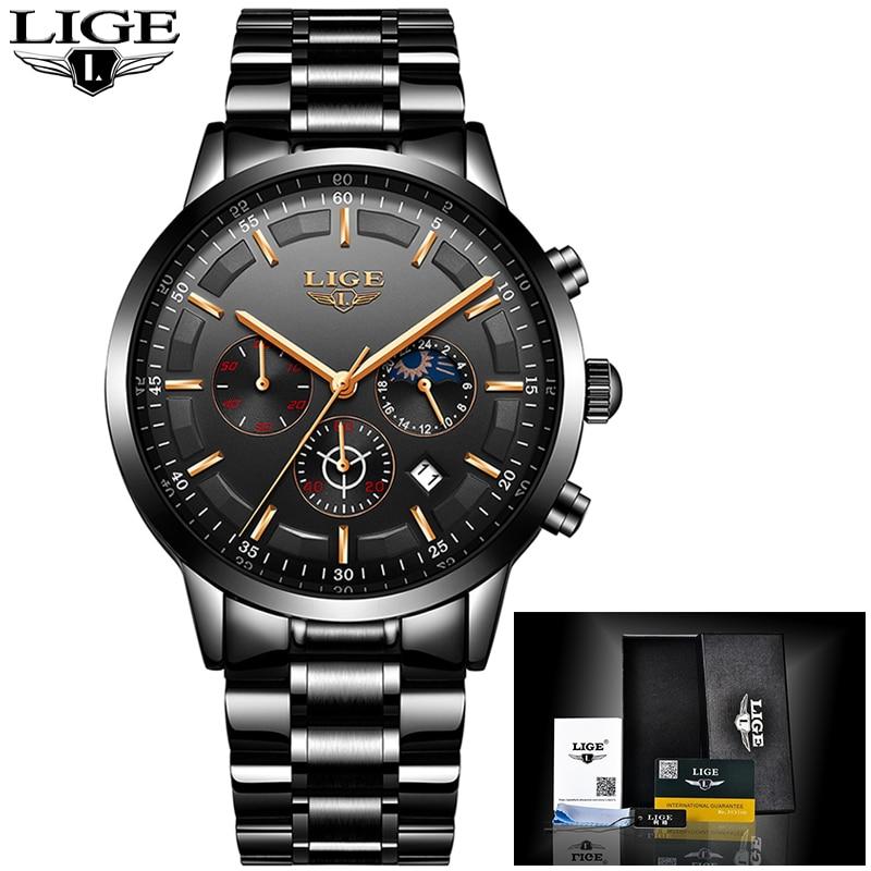 LIGE Nouveau Top Marque De Luxe Montres hommes Sport montre étanche hommes inoxydable bracelet en acier tout en acier quartz Horloge Relogio Masculino