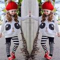 New Panda Girls Clothing Sets Spring Fashion Cotton Cartoon Girls Clothes Set Children Full Sleeve Shirt+ Pants Kids Clothing