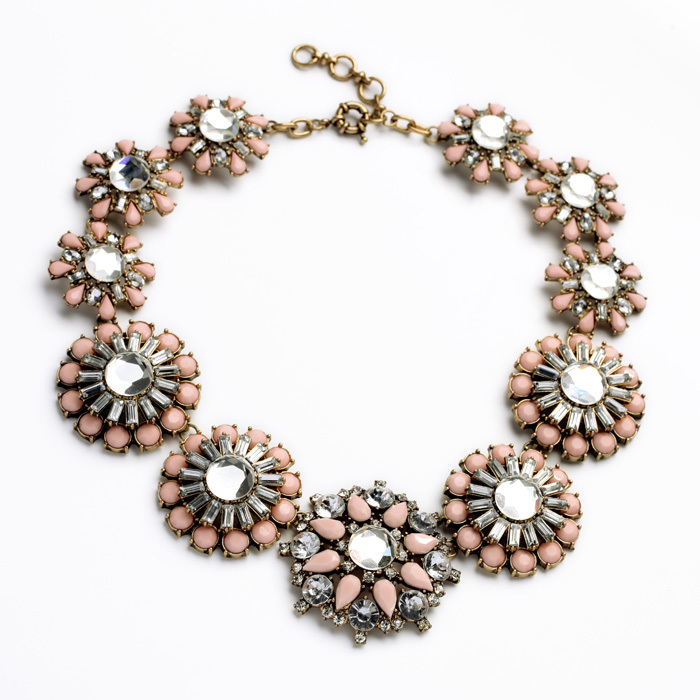 Short Chain Faux Crystal Encrusted Pinky Floral Necklace Holders Antique Gold Color Accessory