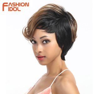 Image 3 - Moda IDOL krótkie faliste syntetyczne peruki do włosów Ombre 10 Cal Bob peruki dla czarnych kobiet żaroodporne peruki syntetyczne darmowa wysyłka