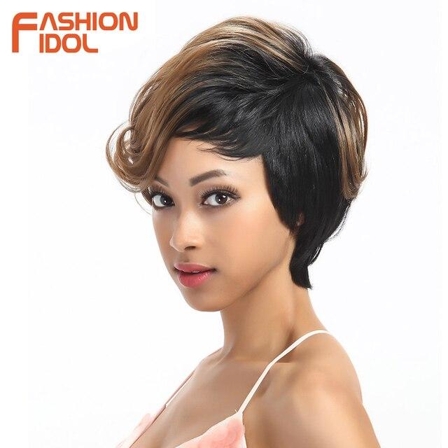 Pelucas de pelo sintético ondulado corto ídolo de moda Ombre pelucas de 10 pulgadas Bob para mujeres negras pelucas sintéticas resistentes al calor envío gratis