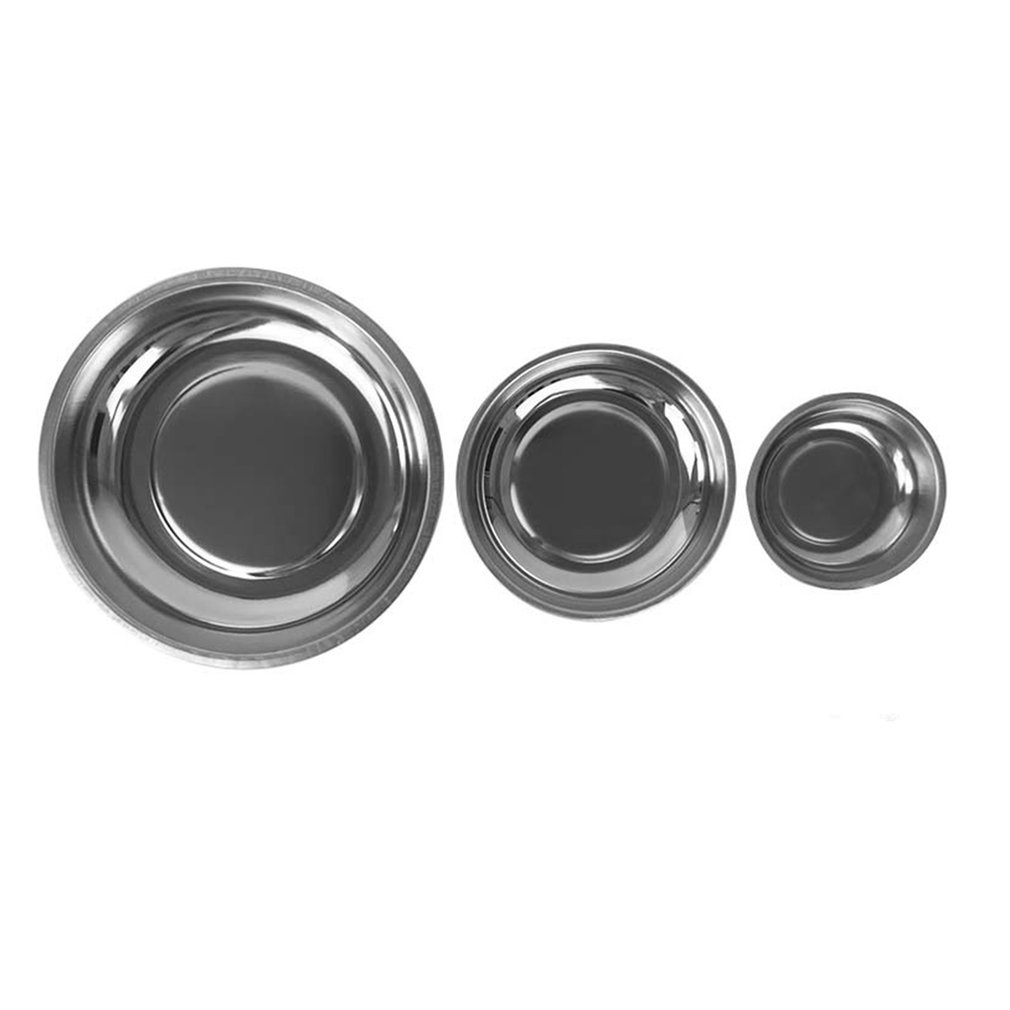 Circle Stainless Steel Magnetic Parts Bowl Tool Tray Nuts Bolts Screws Part Tray Magnetic Parts Plate Silver doglemi dm70055 l stainless steel bowl for pet dog silver