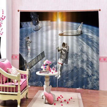 Space astronaut Photo 3D Curtains For Living Room Bedroom Home Decoration Customize Curtain