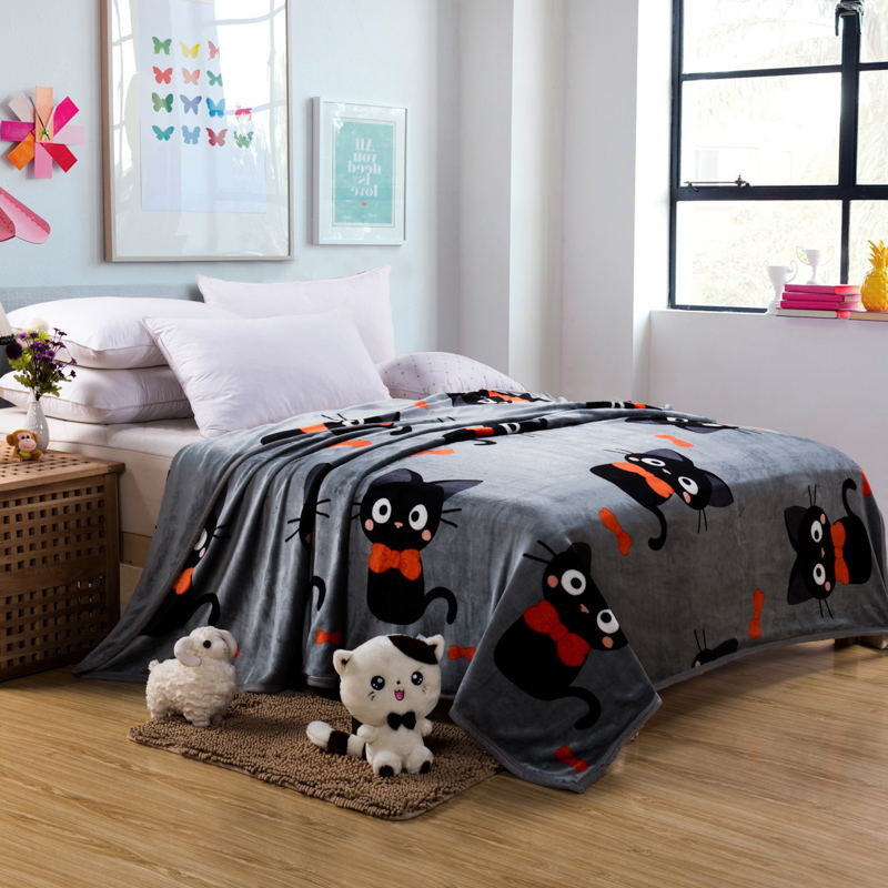 ФОТО Lovely Cats Thick Winter Blanket Coral Fleece Blankets Warm Flannel Sheets Blankets 100% Polyester Double Grey Blanket For Kids