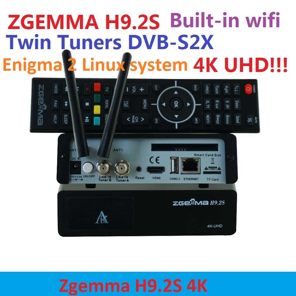 Date Zgemma H9.2S HEVC H.265 4 k UHD 2160 P 2XDVB-S2X Énigme 2 Linux 4.1 IPTV HARCELEUR twin tunner Satellite TV Reicever décodeur