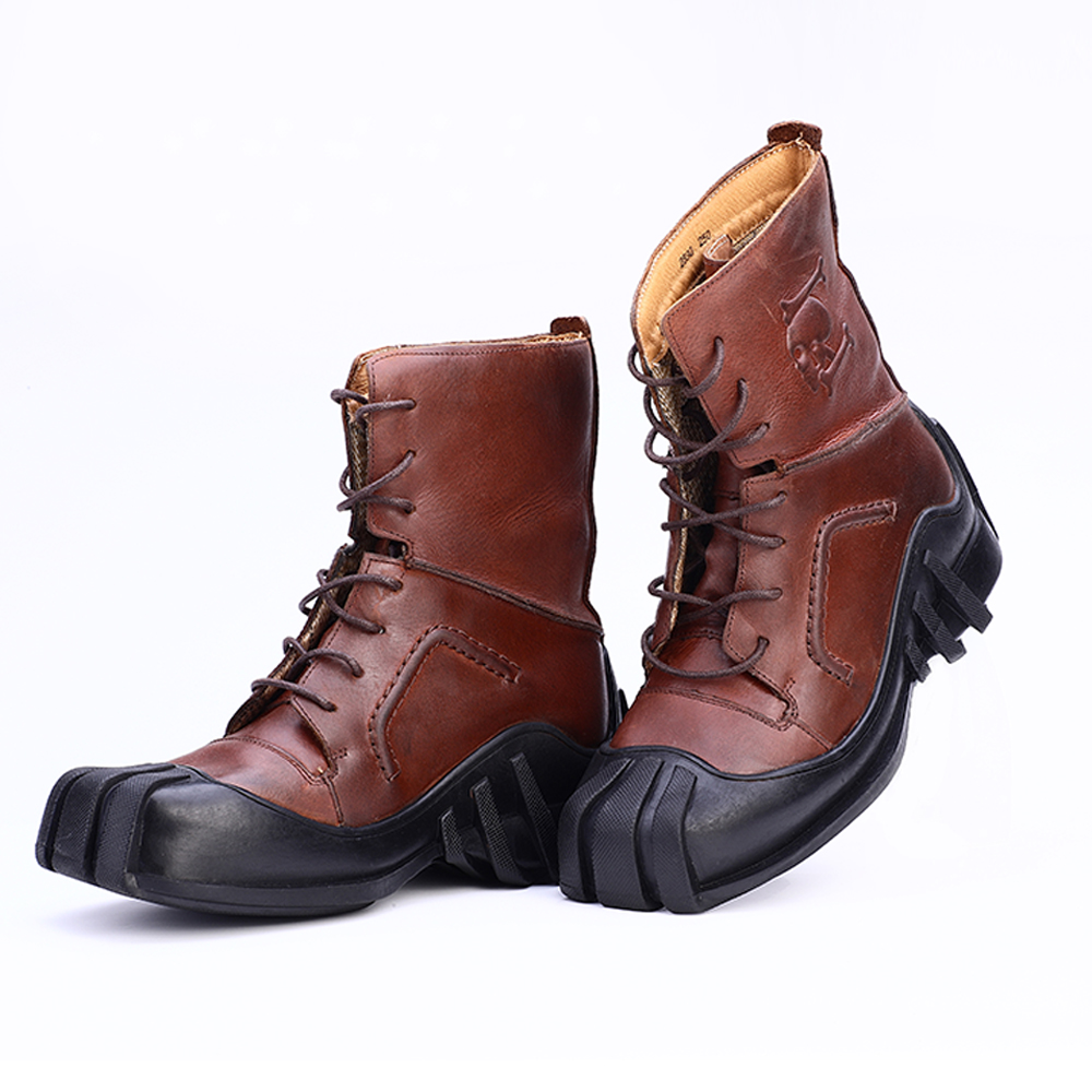 Men's Genuine Leather Lace up Skull Tactical Military Boots/Bikers Motorcycle Boots-in Motorcycle boots from Shoes    2