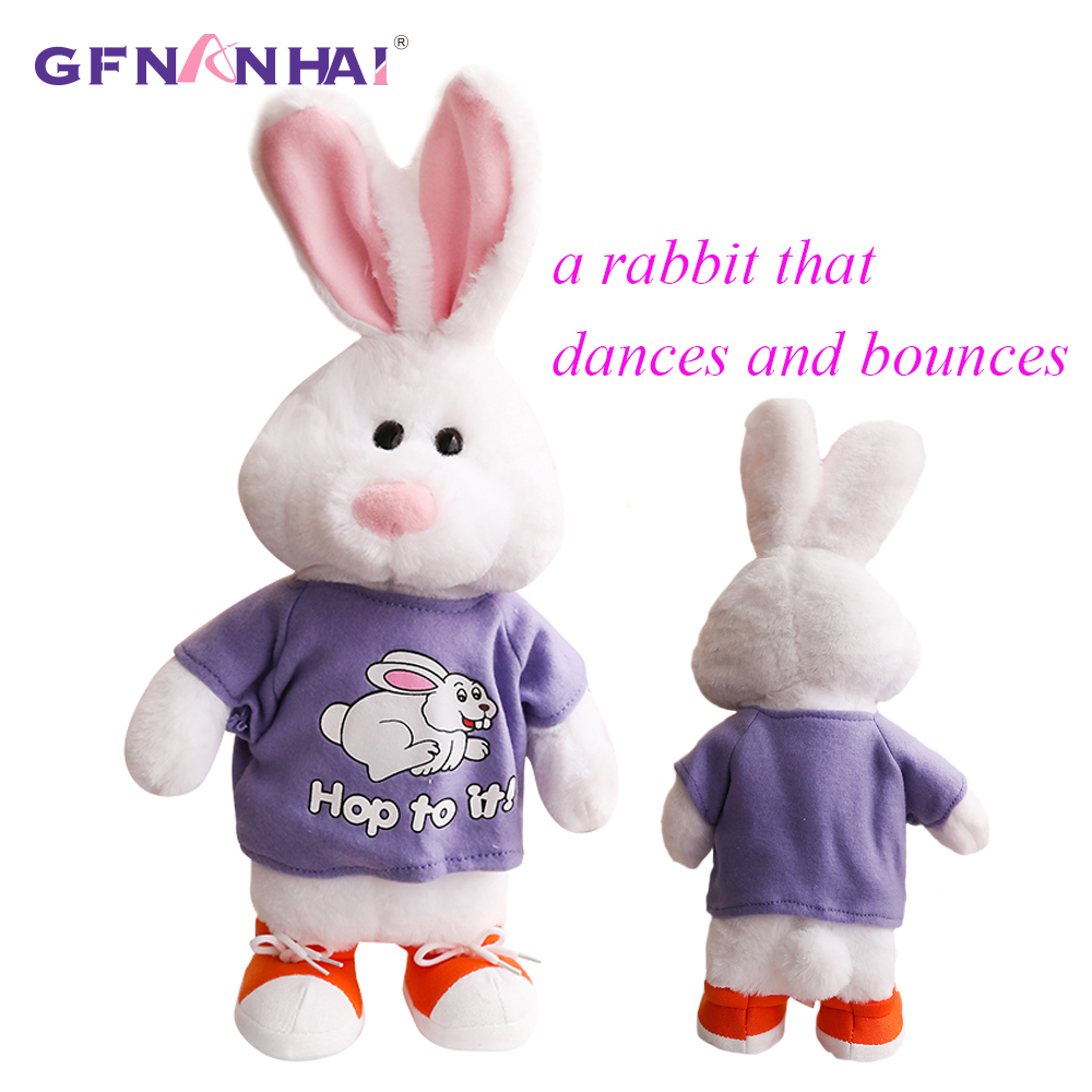 1pc 50cm Lovely Electric Dancing Rabbits Plush Toy Funny can bouncing and vivacious Animal Rabbits Dolls Stuffed Toys for Baby