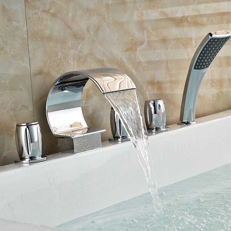 Luxury Deck Mounted Chrome Brass Bathtub Faucet 5pcs Mixer Tap W Handheld Shower