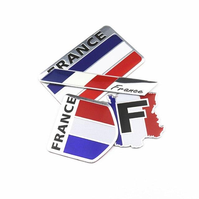 Estilo de coche 3D de aluminio Francia bandera insignia coche pegatina calcomanías para Peugeot 206, 207, 208, 307, 308 Citroen C2 c3 C4 C5 C6