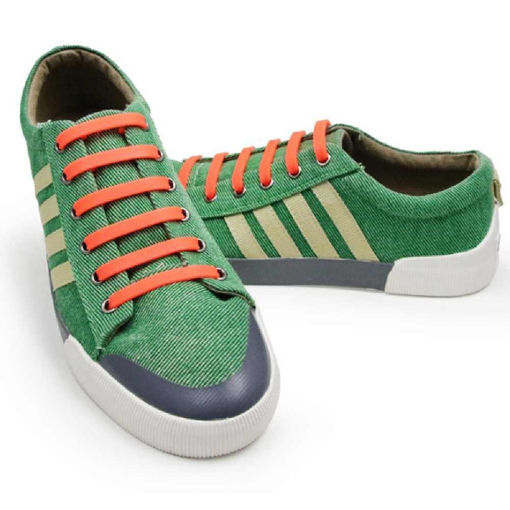 12 adet/grup 13 renkler elastik silikon yetişkin erkekler için ayakkabı bağcığı kadın atletik koşu hiçbir kravat ayakkabı dantel tüm Sneakers Fit kayış