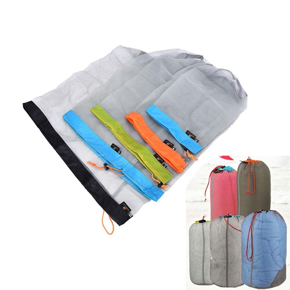 Camping Sports Ultralight Mesh Storage Bag Outdoor Stuff Sack Drawstring Bag Storage Bag Traveling Organizer Outdoor