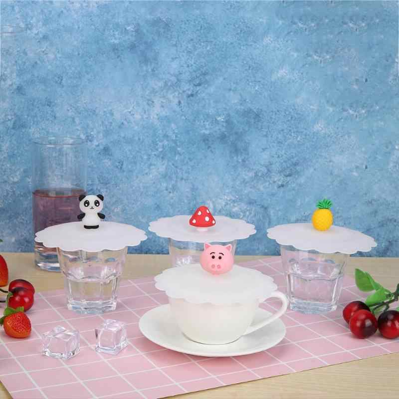 Cute Fruits Animal Adorn Water Drinking Cup Lid Silicone Anti-dust Bowl Cover Cup Pink Pig Panda Seals Glass Mugs Cap Universal