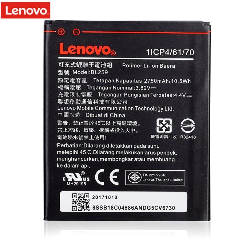 Original 2750 mAh BL259 para Lenovo Lemon 3 3 s K32C30 K32c36 Vibe K5/K5 Plus/A6020a40 A6020 a40 un 6020a40 batería