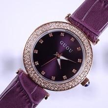2015 New Design Women Rhinestone Watches Luxury Lady Quartz Dress Watch Genuine Leather Diamond Wristwatches GUOU 8112