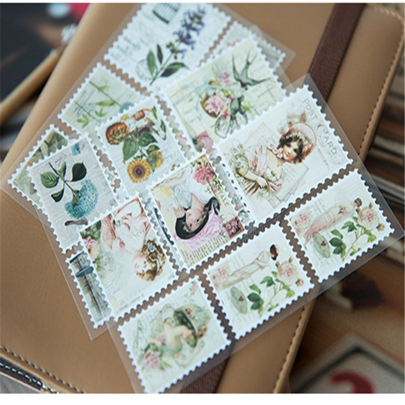 3sheets/lot Vintage Pocket Stamps Paper Stickers DIY Dairy Hand Account Sticker Scrapbooking Label For Album Decoration